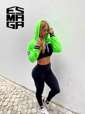 Crop Top Fit Green Flúor