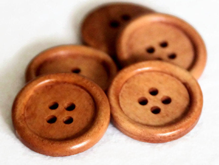 25 Light Rusty Brown Wooden Buttons -  4 Holes