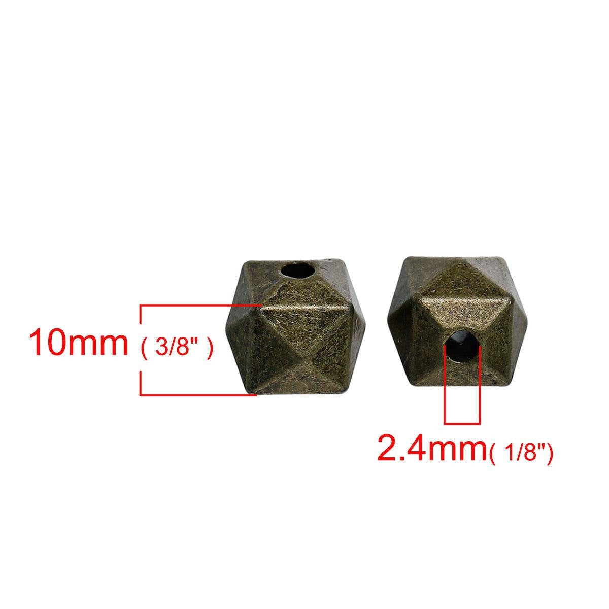 "10 Bronze Spacer Beads - 10mm - 3/8"" - Faceted - Small Bronze Spacer Bead 0080692"