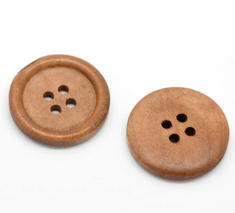 10 Light Brown Saddle Wooden Buttons - 25mm (1 inch) - 4 Holes