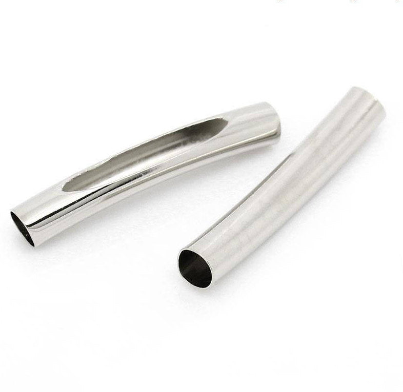 Silver Finish Tube Beads -  Curved with Opening - 31mm x 5mm - Noodle Silver Tube Bead