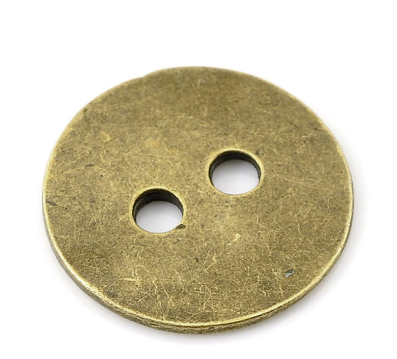 10 Antique Bronze Metal Button - 2 Holes - 24mm (1 inch) - Sewing Metal Buttons