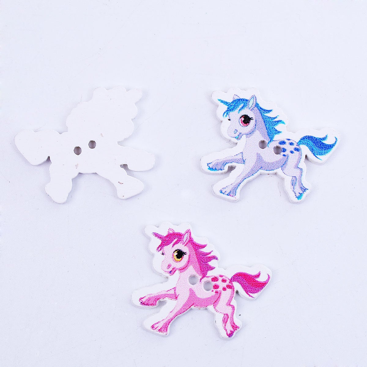 "10 Unicorn Wooden Buttons - 33mm (1 2/8"")  x  28mm (1 1/8"") - 2 Hole"