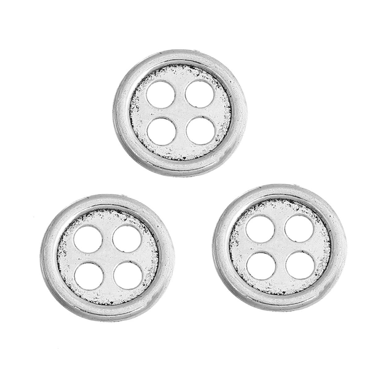 5 Metal Sewing Buttons - Round Antique Silver - Metallic Buttons - Button Clasp - 4 Holes