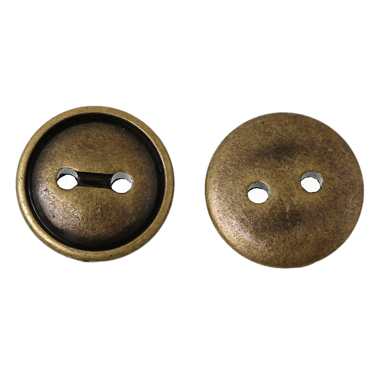 "Acrylic Sewing Buttons Round Antique Bronze 2 Hole Button 13mm  (3/4"") B54485"