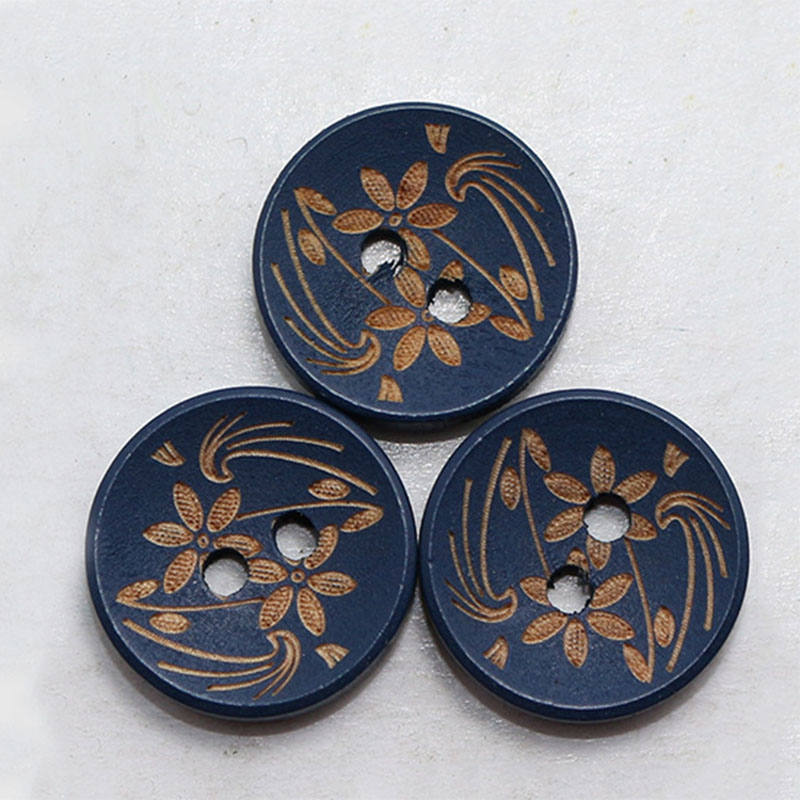 10 Dark Blue Wooden Buttons - Gold Flowers - 15mm - 2 Hole - Wood Button - Navy Blue Buttons