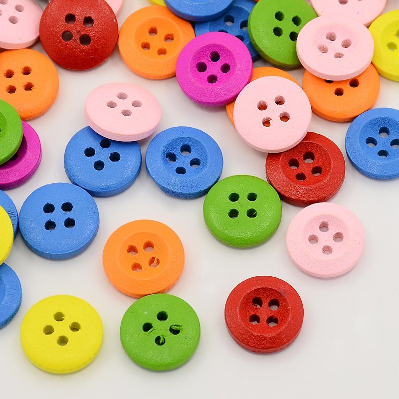 50 Small Mixed Color Wooden Buttons - 13mm -  Mixed Colors - 4 Hole - Mixed Wood Button (X-BUTT-N002-20)