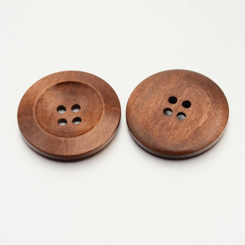 10 Brown Wooden Buttons - 30mm (1 1/4 inch)  - 4 Hole - Wood Button (BUTT-O012-05)