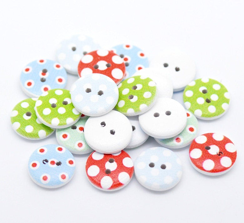 Dot Pattern Wooden Buttons - 15mm (5/8 inch) -  Mixed Color - 2 Hole