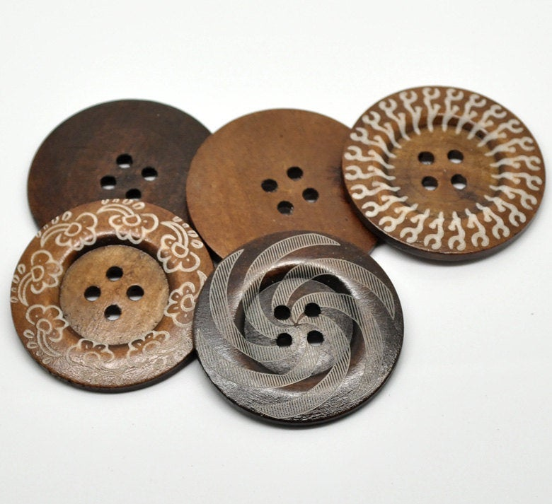 10 Extra Large Wooden Buttons - Variety - 2 3/8 inch - 6cm - Wood Buttons
