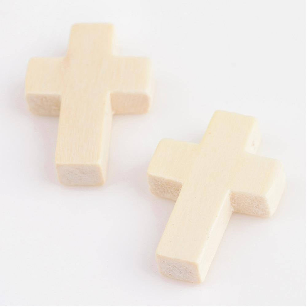 10 Wood Cross Pendant, Natural, Unfinished Wooden Cross 22mm x 15mm Hole: 2.5mm S660
