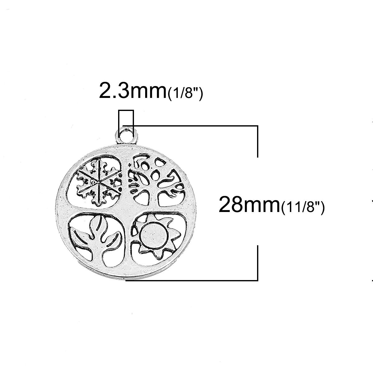 5 Silver 4 Seasons Charm Pendant -  25mm 1 inch in Diameter - Tree of Life Metal Charm Pendant
