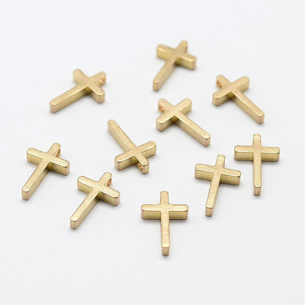 10 Small Brass Cross Charms - 13mm x 8mm - Tiny Cross Charm - Small Cross Charm - Small Cross Pendant