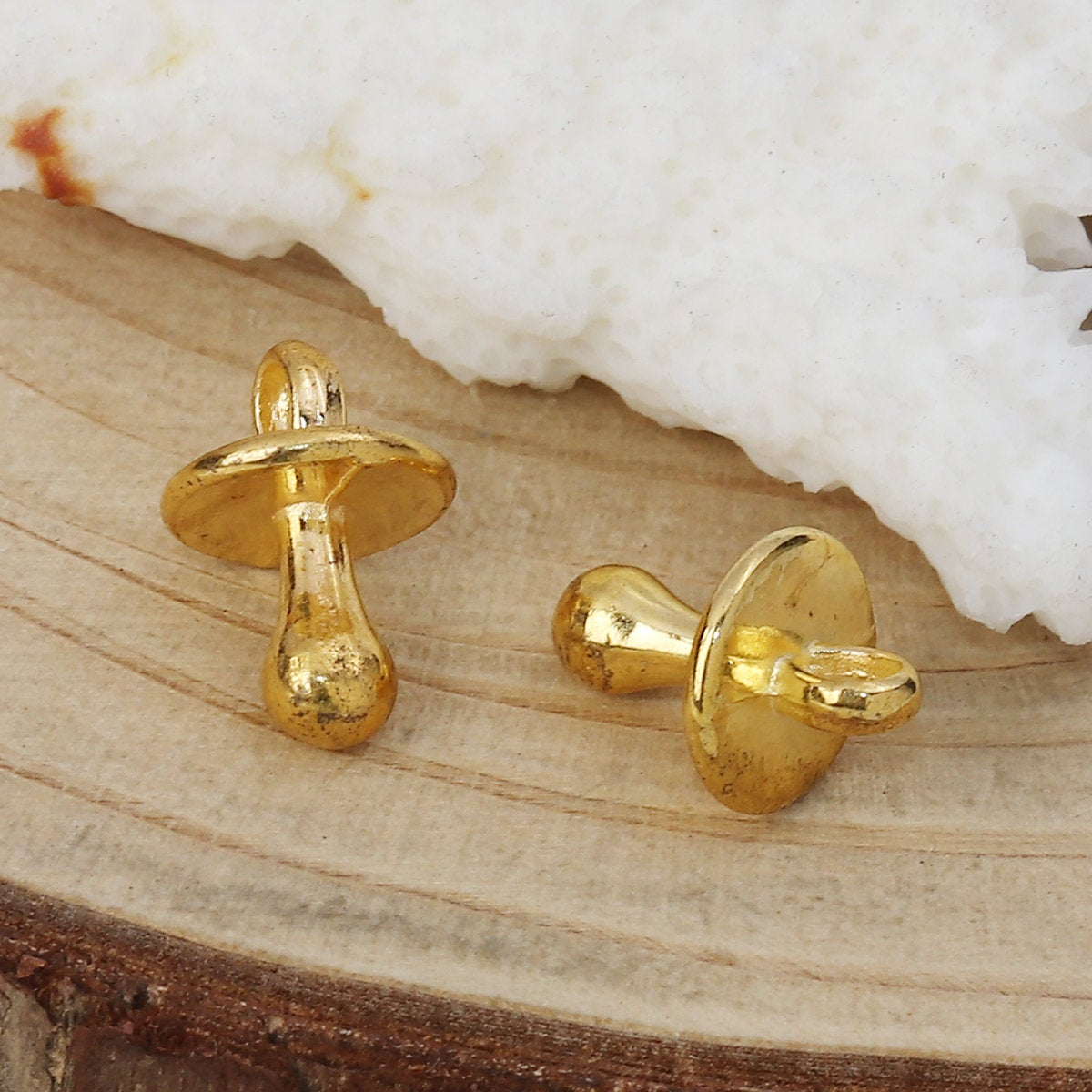 "5 Gold Plated Pacifier Baby Charm Pendant - Gold Plated - Lead and Nickel Free - 13mm x 9mm (1/2"" x 3/8"") B0112592"