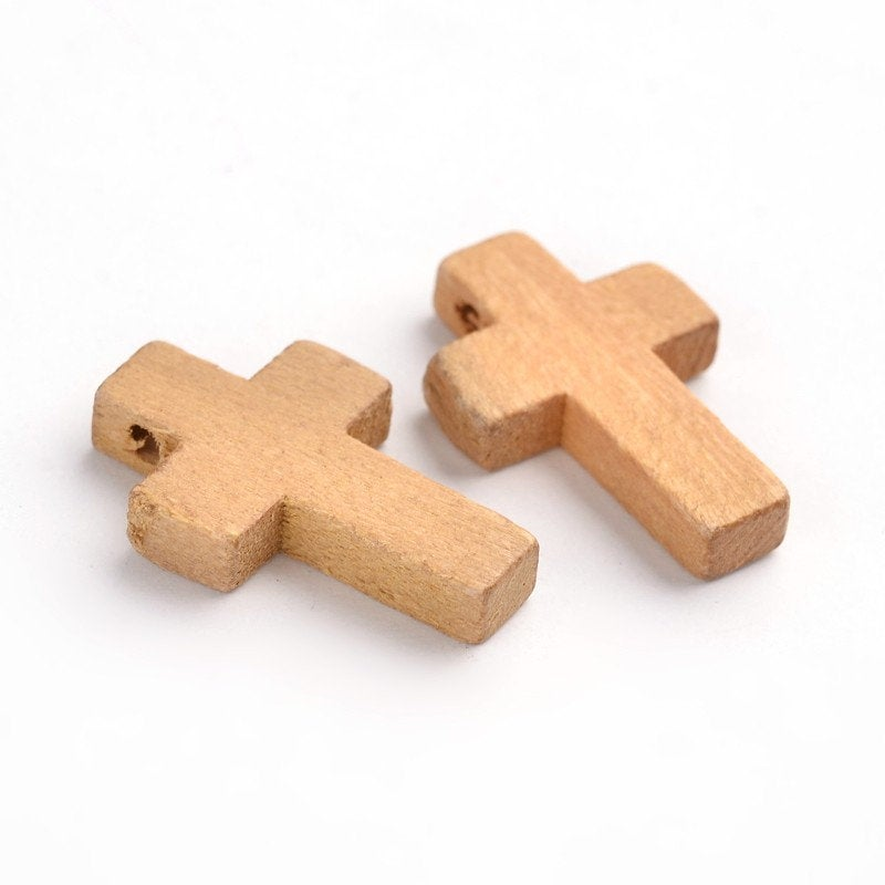 Wood Cross Pendant, Saddle Brown Wood Cross, Easter Crafts, Small Wood Cross, Pendant, 22mm x 15mm Hole: 2.5mm  (WOOD-S029