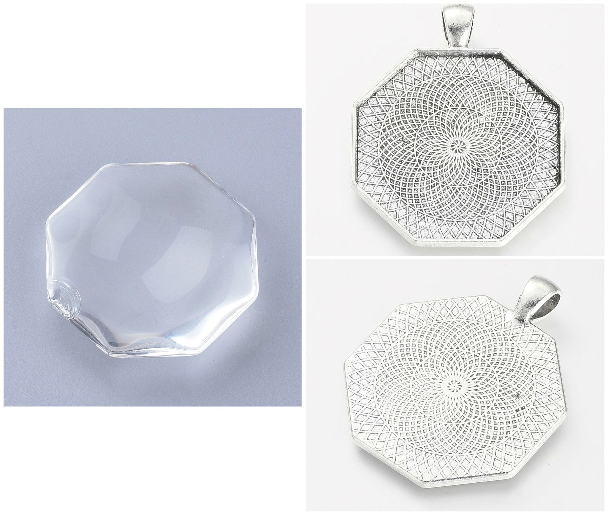 5 Pendant Bezel Tray Sets - Matching Clear Glass Cabochon - Octagon Shape - 35mm x 35mm - Silver
