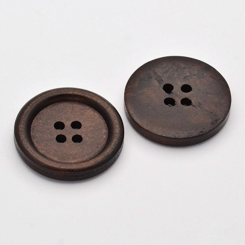 "25 Dark Brown Wooden Buttons - 25mm (1 inch) - 4 Holes -  Round Sewing Wood Buttons 25mm (1"")   (D039-26-01)"