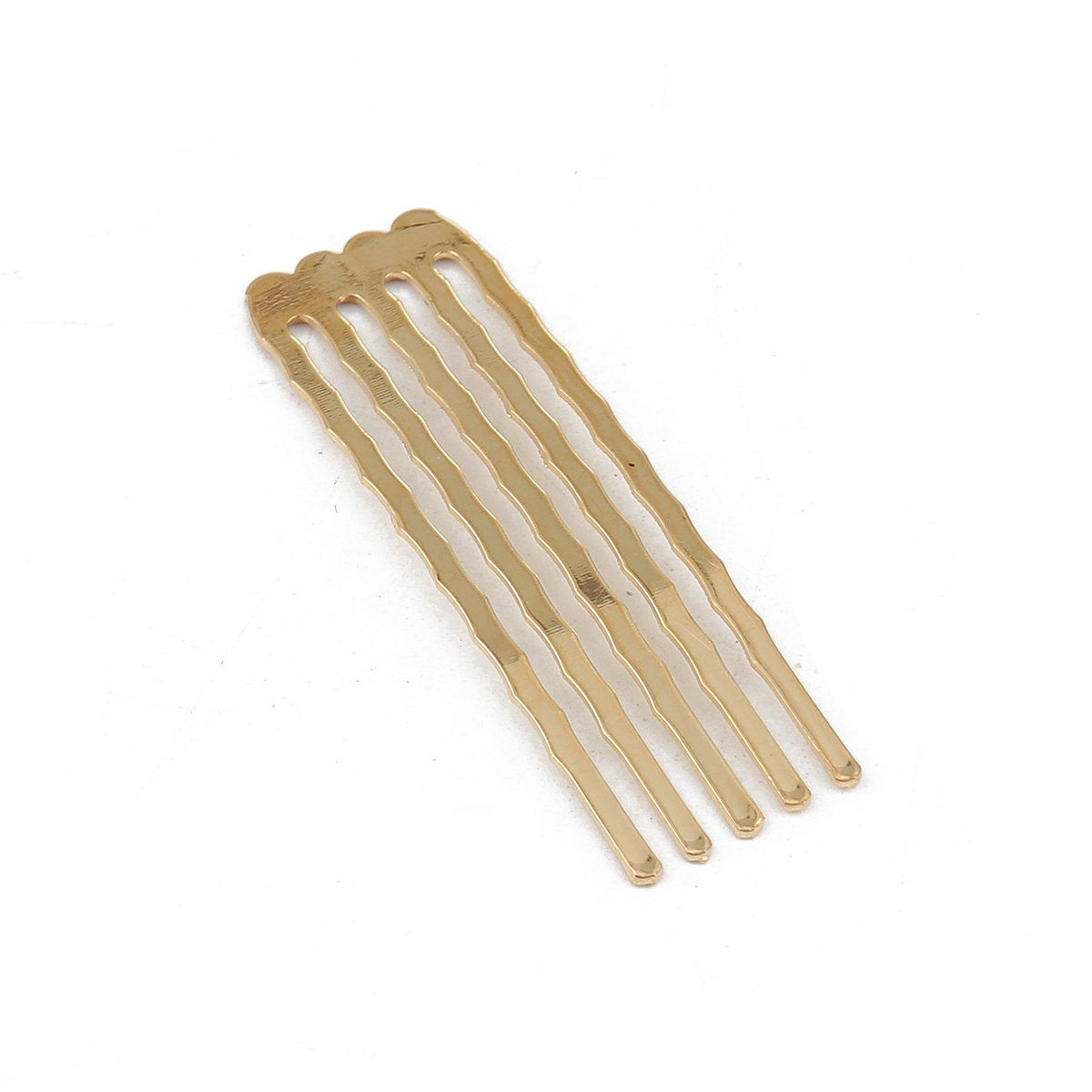 "5 Gold Plated Hair Combs - Nickel Free - Lead Free - Wedding Bridal Comb - 49mm x 15mm (1 7/8"" x 5/8"")"
