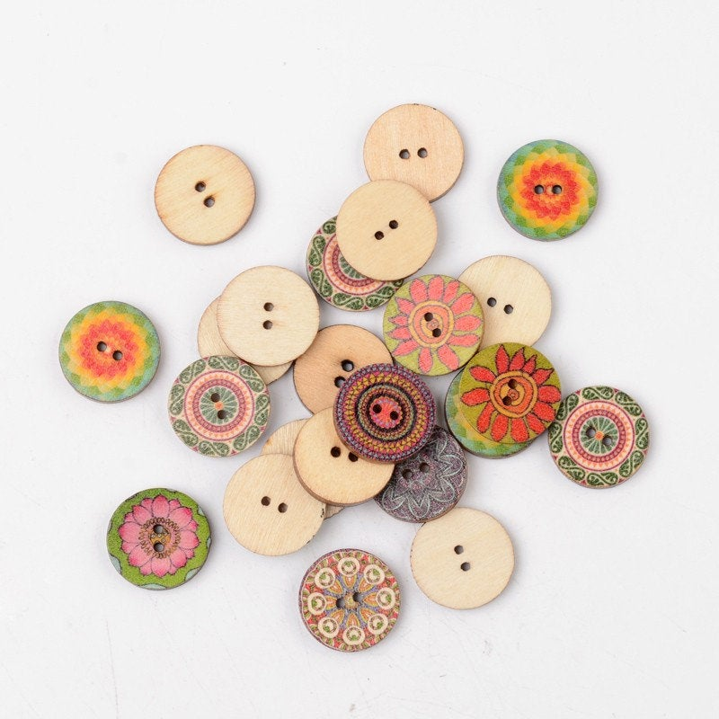 10 Bulk Mixed Color Wooden Buttons - 20mm (3/4 inch) - 2 Hole - Assorted Mixed Design Wood Button (BUTT-K002