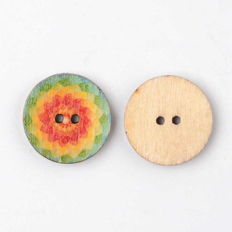 Bulk Mixed Color Wooden Buttons - 20mm (3/4 inch) - 2 Hole - Assorted Mixed Design Wood Button (BUTT-K002