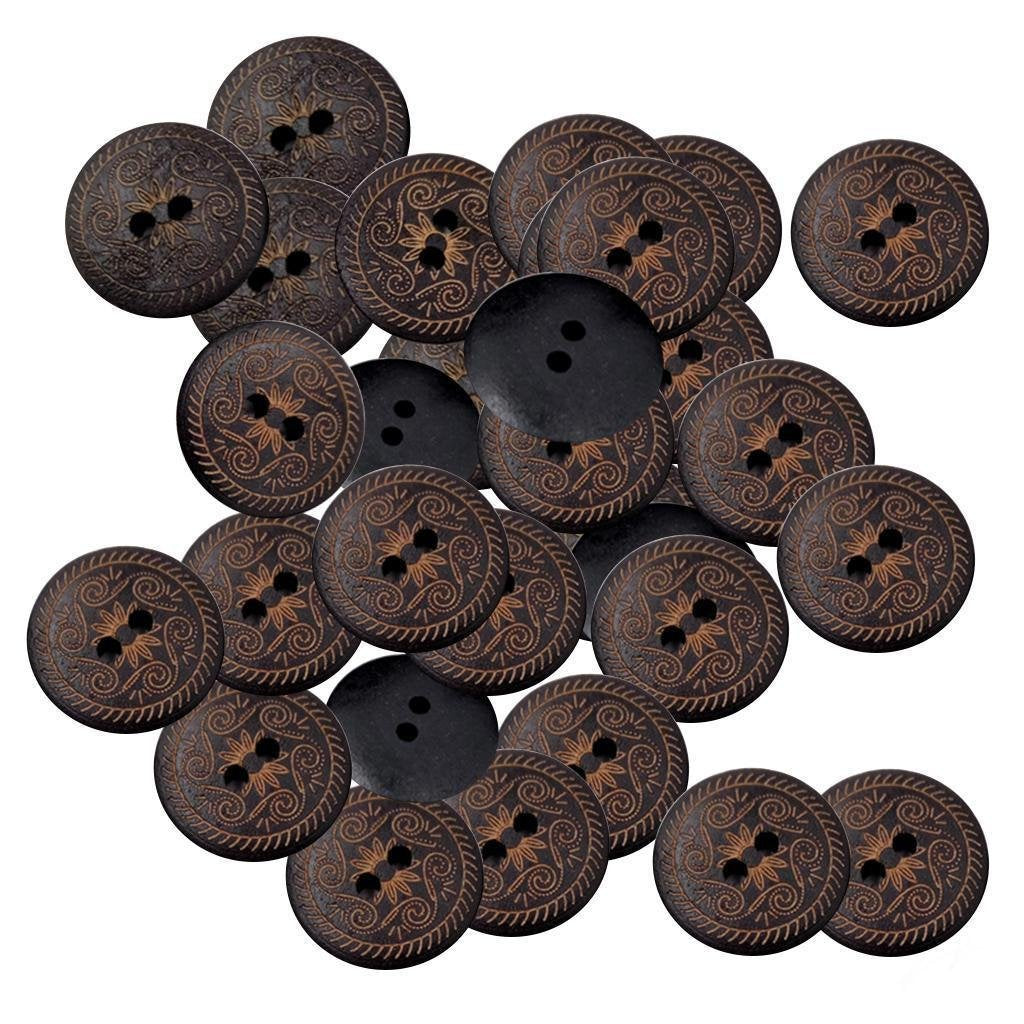 10 Dark Brown Wooden Buttons with Design - 18mm (3/4 inch)  -  2  hole - Wood Button (E-br-wd-butt-design-18mm)