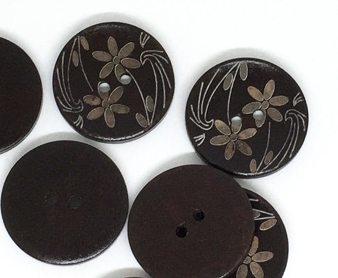 5 Large Dark Brown Wooden Button - Flower Design - 35mm - 1 3/8 inch -  2 hole