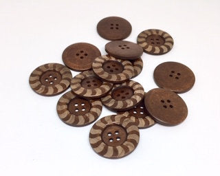 5 Large Dark Brown Wooden Button - Decorative Edge - 40mm - 1 1/2 inch -  4 hole