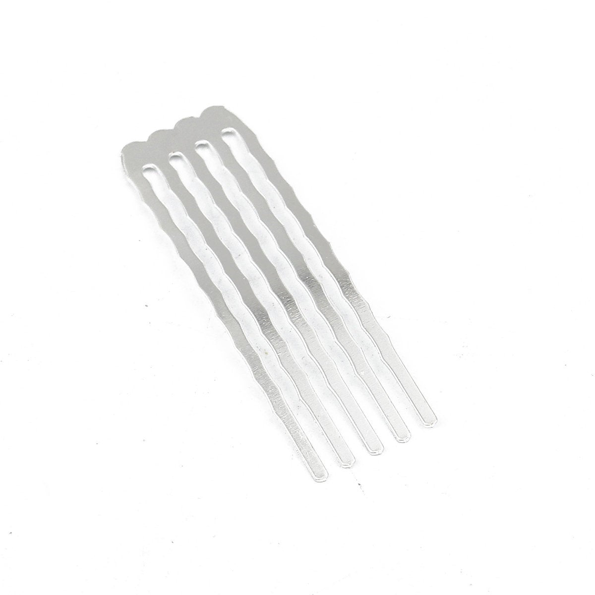 "5 Silver Plated Hair Combs - Nickel Free - Lead Free - Wedding Bridal Comb - 49mm x 15mm (1 7/8"" x 5/8"")"