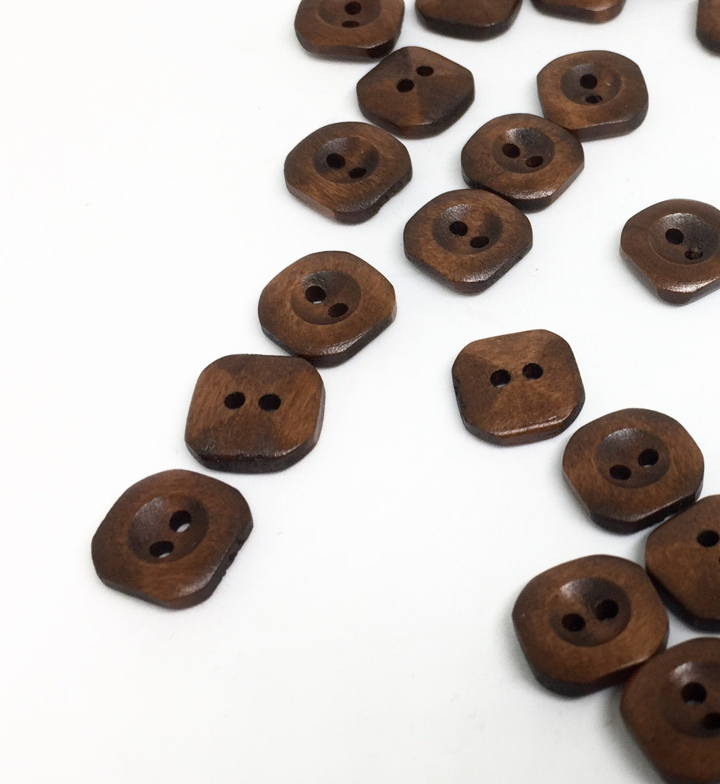 10 Dark Brown Wooden Buttons - Square - Round Corners - 15mm - 2 Hole