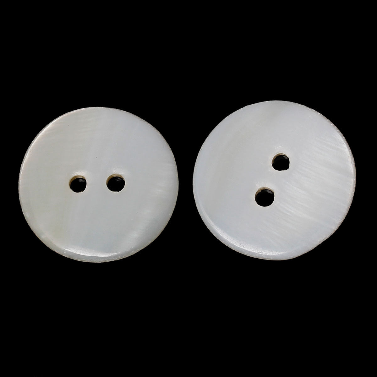 Shell Button - White - 2 Holes - 21 mm