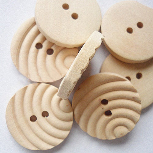 10 Almond or Natural Wooden Buttons - 25mm (1 inch) - Unique Wavy Pattern - 2 Holes