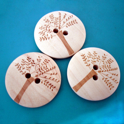 10 Large Natural Wooden Buttons - Tree of Life Pattern - 30mm (1.1 inch)  - 2 Hole