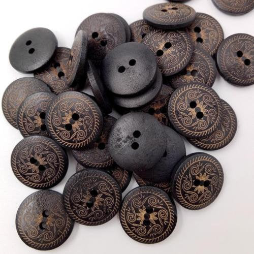 25 Dark Brown Wooden Buttons with Design - 18mm (3/4 inch)  -  2  hole - Wood Button (E-br-wd-butt-design-18mm)