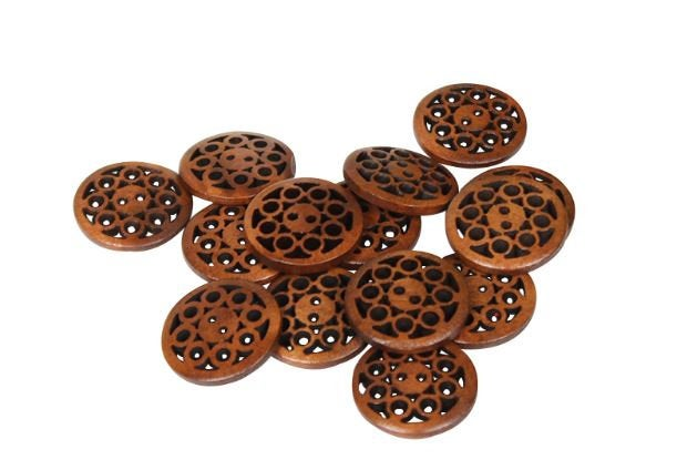 10  Dark Brown Carved Wooden Buttons - 20mm (Approx. 3/4 inch) - 2 Hole - Brown Wood Button (BUTT-drkbrn