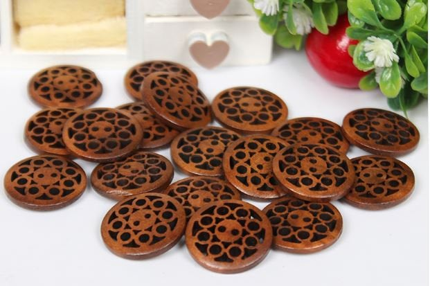 10  Dark Brown Carved Wooden Buttons - 20mm (Approx. 3/4 inch) - 2 Hole
