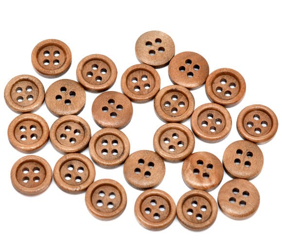 10 Medium Brown Wooden Buttons - 15mm - 4 Hole