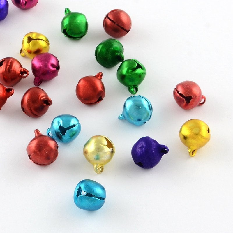 25 Christmas Bells - Bell Charms - Mixed Color - 8mm x 6mm - Holiday Bells