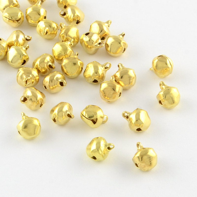 25 Gold Christmas Bells - Bell Charms - 9mm x 6mm