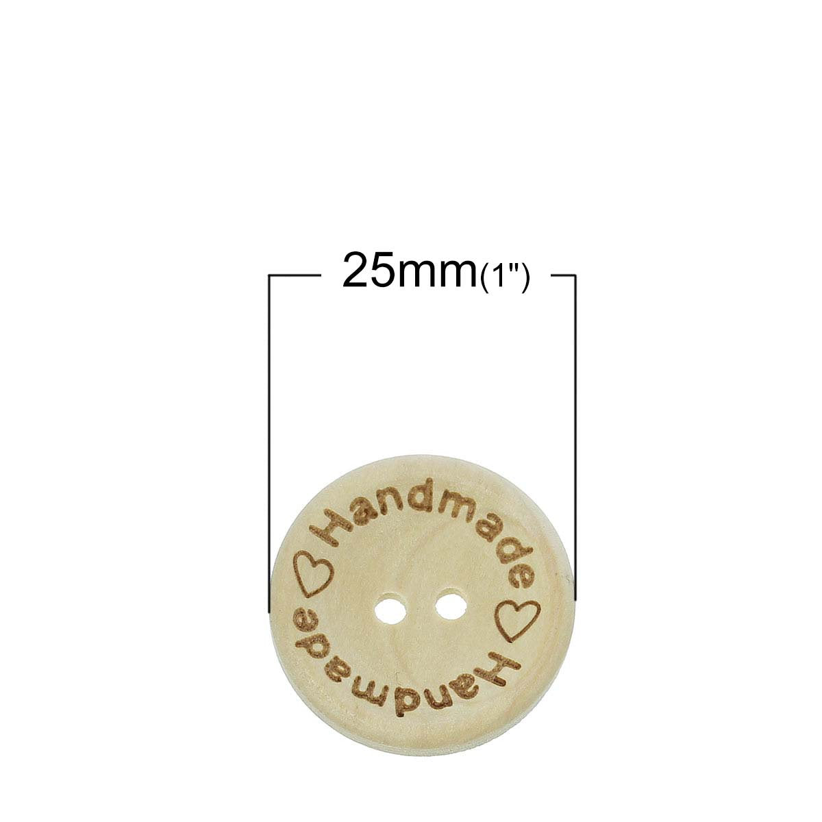 "5 Natural ""Handmade"" Wooden Button - 25mm - 1 inch -  2 hole - Wood Buttons"