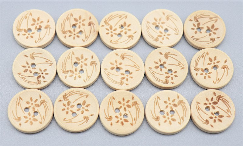 Natural Wooden Buttons - Flower Pattern - 20mm (3/4 inch)  - 2 Hole - Wood Button (butt-natrl-flr-20mm)