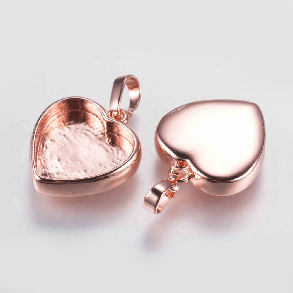 5 Pendant Bezel Tray Sets - Clear Glass Heart Cabochon - Gold, Silver, Rose Gold  - 17x15x3.5mm,  Tray: 12mm x13mm