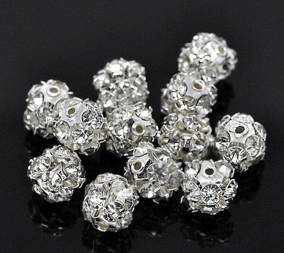 12 Silver Plated Rhinestone Disco Ball Spacer Bead 8mm (00512)