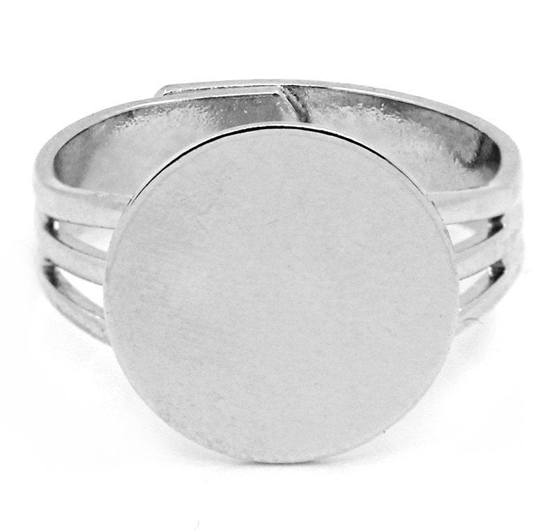 "5 Adjustable Ring Base - Silver Finish - Lead Nickel Cadmium Free -  Size 7.5 18mm (3/4"") Base 18mm - Adjustable Ring Bases  (B23332)"