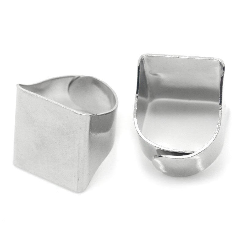 "5 Adjustable Ring Base - Silver Finish - Lead Nickel Cadmium Free - Size 5.75 - 20mm (3/4"") - Adjustable Ring Bases  (B25115)"