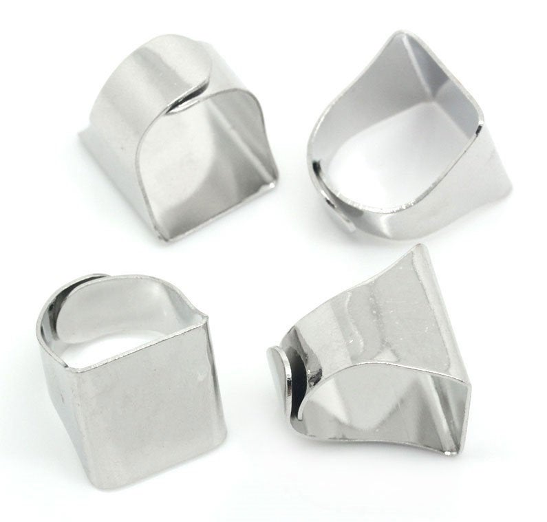 "10 Adjustable Ring Base - Silver Finish - Lead Nickel Cadmium Free - Size 5.75 - 20mm (3/4"")"