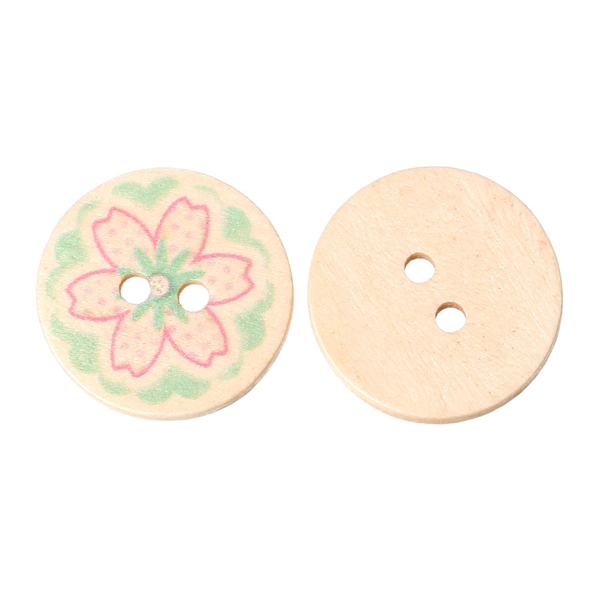10 Pink and Green Flower Wooden Buttons - 25mm (1 inch) - 2 Holes