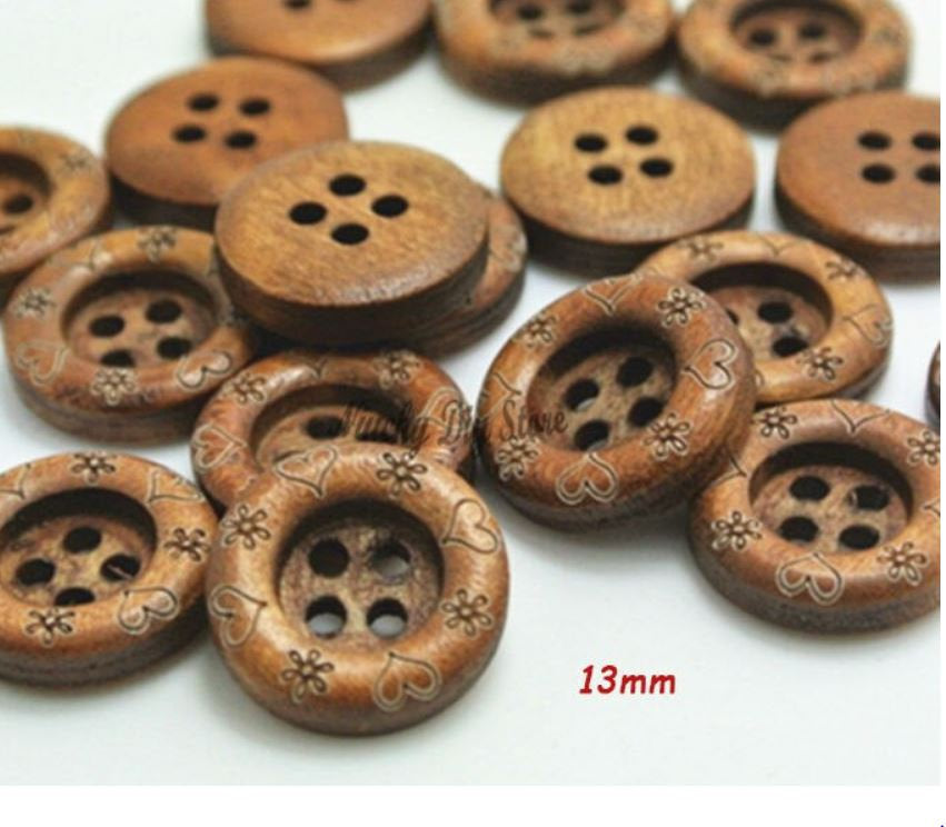 25 Dark Brown Wooden Buttons - 13mm - 4 Hole - Heart Flower Etching - Wood Button (butt