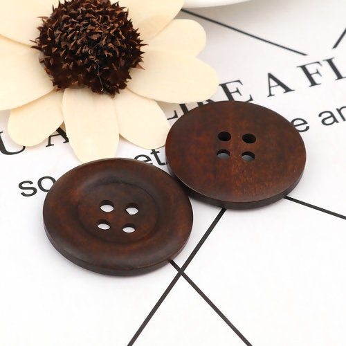 20 Large Dark Brown Coffee Wooden Button - 35mm - 1 3/8 inch -  4 hole