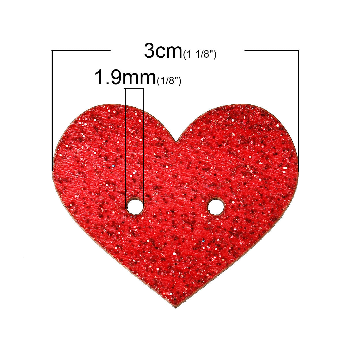"Glitter Heart Mixed Color Wooden Buttons -  30mm x 25mm (1 1/8"" x 1"")- Valentines Day - Randomly Mixed Glitter Colors"