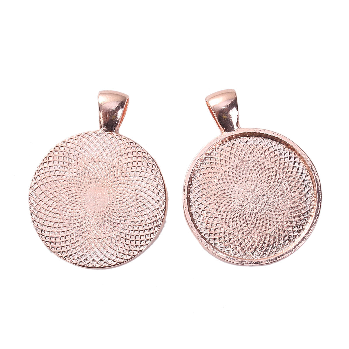 5 Rose Gold Cabochon Bezel Pendant Trays 25mm - Round 1 inch